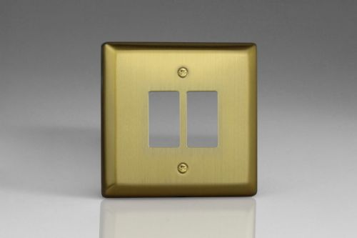 Varilight XYPGY2.BB Urban Brushed Brass 2 Gang Grid Plate (Single Plate)